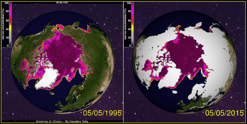 Arctic Sea Ice 1995 and 2015