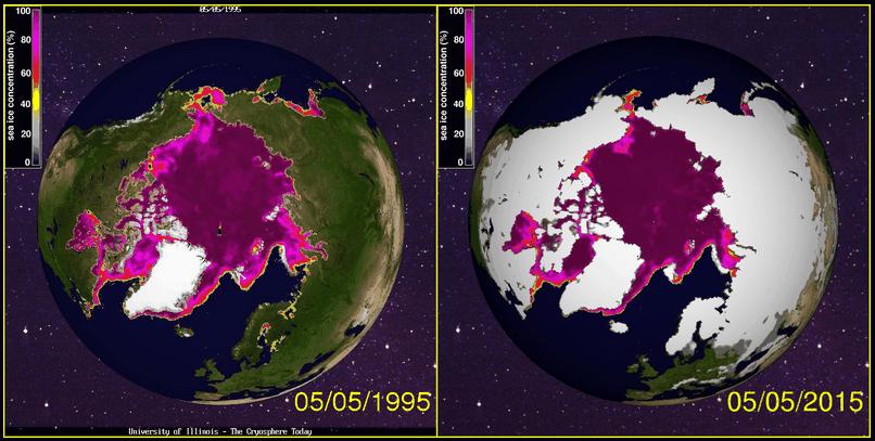 Arctic Sea Ice 1995 and 2015