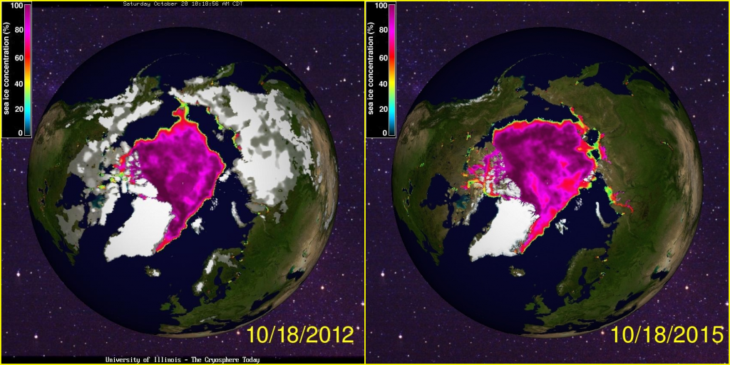 Arctic sea ice gain: 2012 and 2015