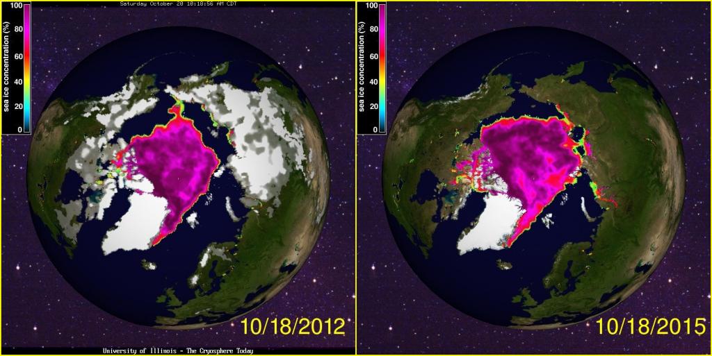 Arctic sea ice gain: 2012 and 2015