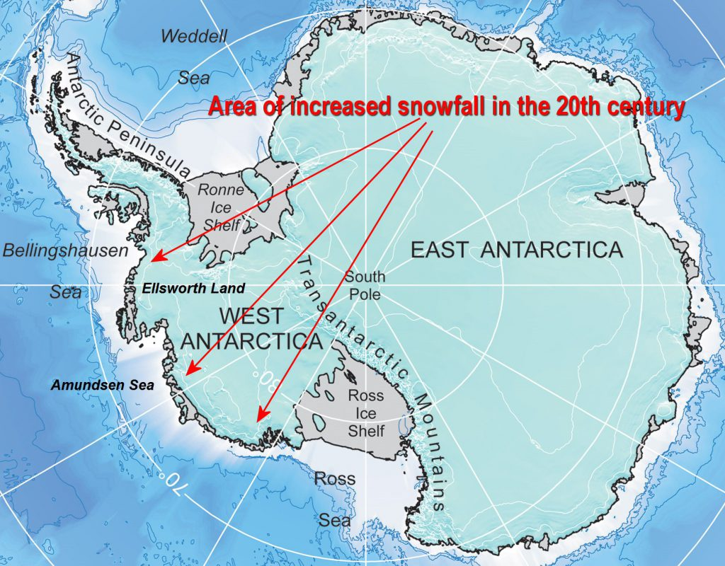 Antarctica - area of increased snowfall in the 20th century