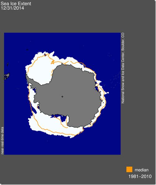 Sea ice extent, 31-12-2014